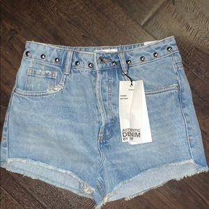 Hi-Rise Studded Denim Shorts